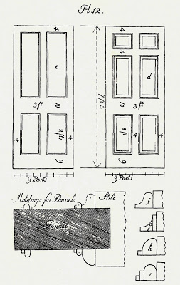 Illustration of had-made door plans from Asher Benjamin's Country Builder's assistant